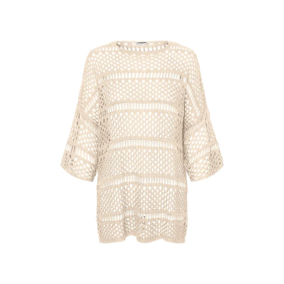 nmmarshal 3/4 long o-neck knit 27011558 noisy may trui ecru