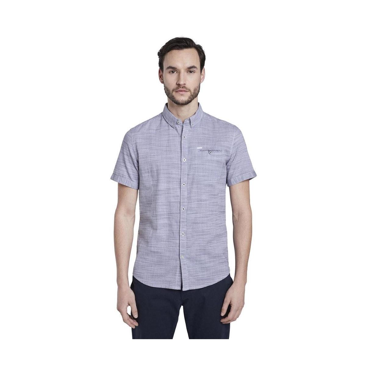 gestructureerd shirt met borstzak 1018638xx10 tom tailor overhemd 22613