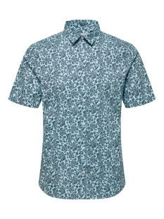 Only & Sons Overhemd ONSARGON SS AOP STRETCH SHIRT 22016636 Aquatic