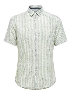 Only & Sons Overhemd ONSCAIDEN SS HERRINGBONE STRIPE SHI 22016641 Pesto