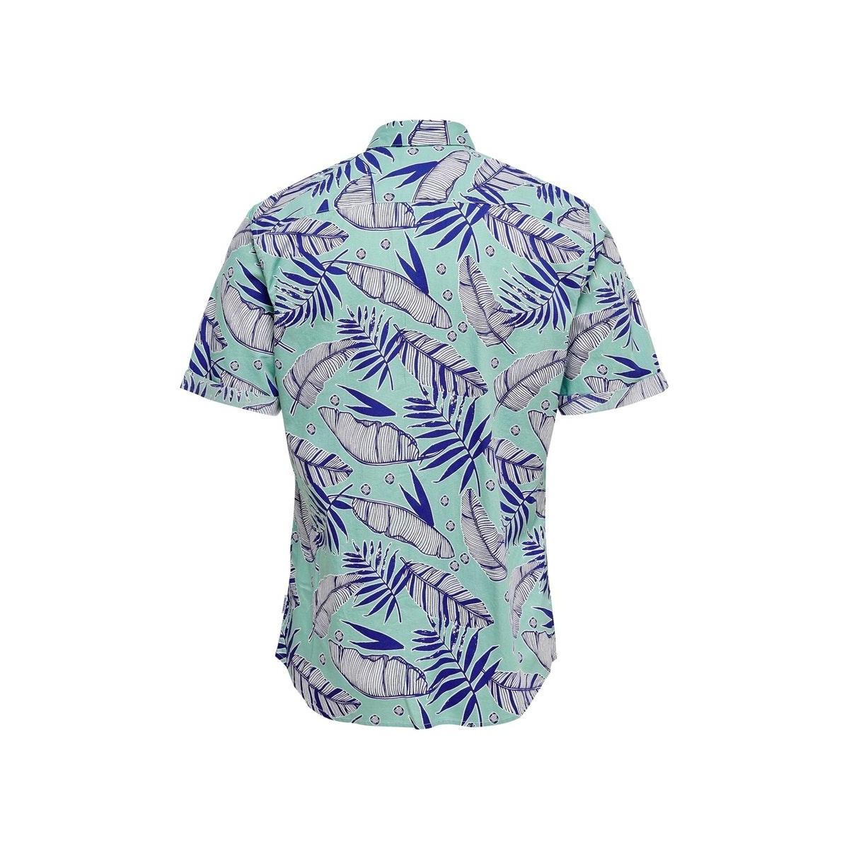 onsissac ss leaf aop shirt 22016183 only & sons overhemd aquifer