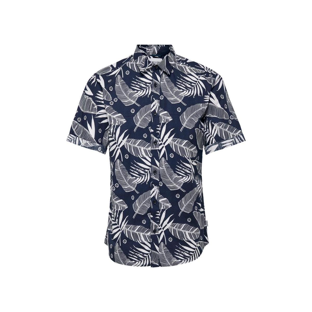 onsissac ss leaf aop shirt 22016183 only & sons overhemd dress blue