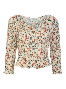 pcmimma 3/4 smock top 17105265 pieces t-shirt whitecap gray/flower bir