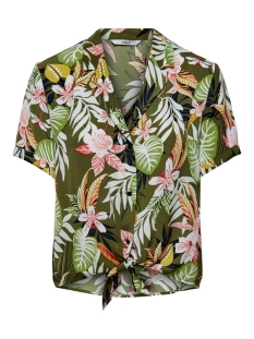 Only Blouse ONLLIZBETH S/S BOW SHIRT WVN 15201245 Kalamata/JUNGLE FLO