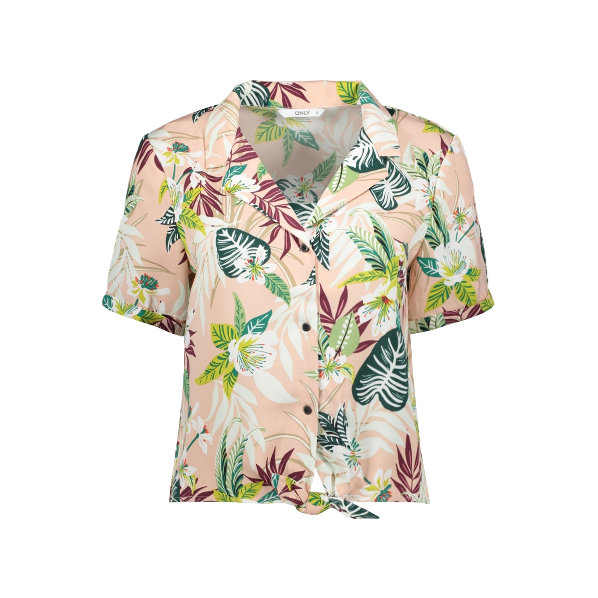 onllizbeth s/s bow shirt wvn 15201245 only blouse rose smoke/jungle flo
