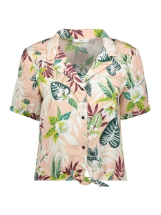 Only Blouse ONLLIZBETH S/S BOW SHIRT WVN 15201245 Rose Smoke/JUNGLE FLO