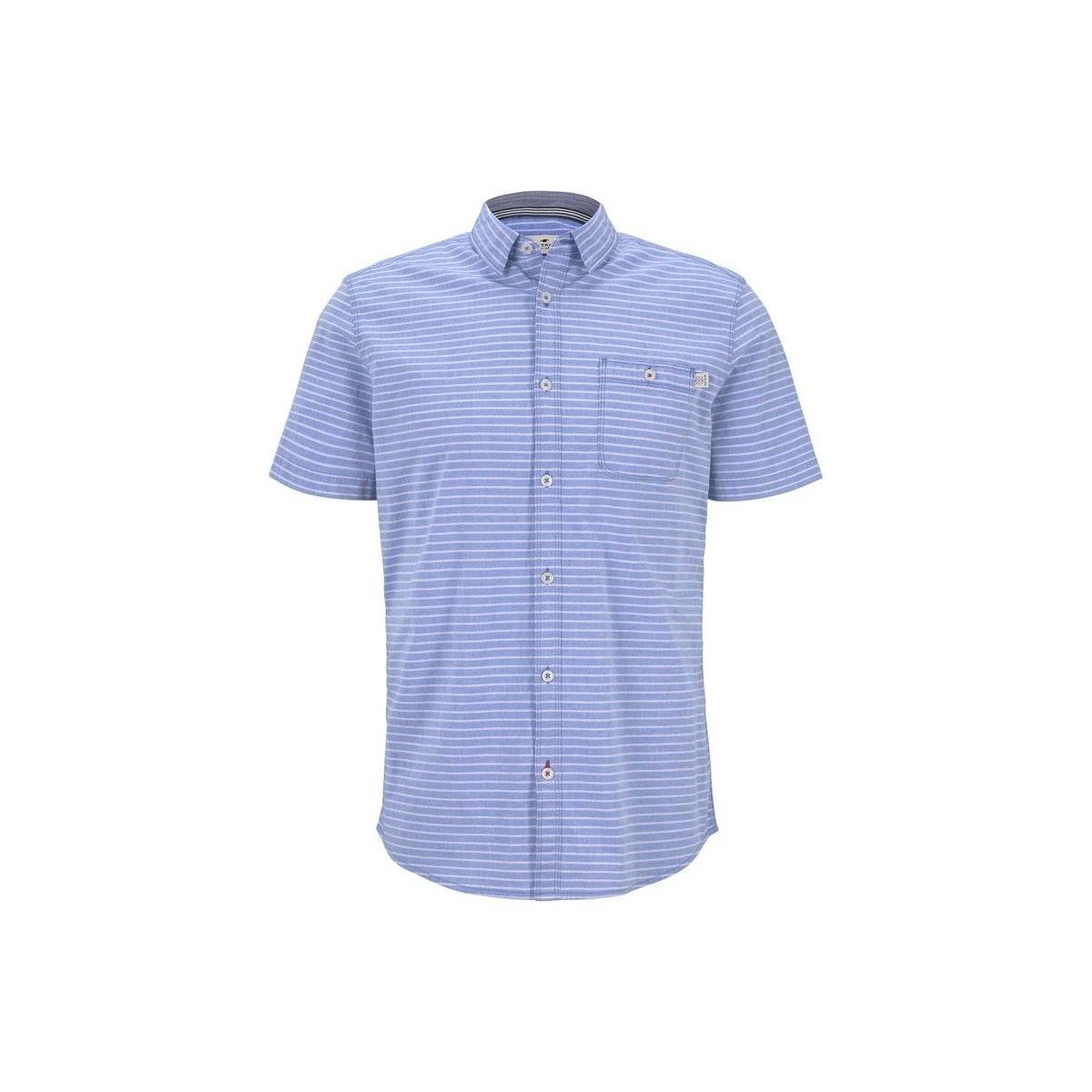 gestreept shirt met korte mouwen 1018646xx10 tom tailor overhemd 22655