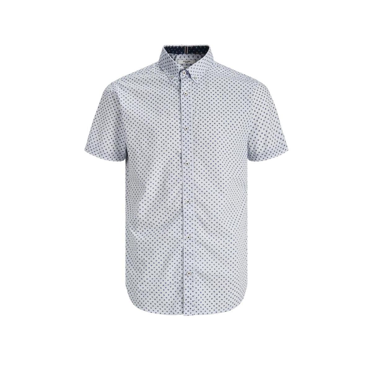 jprblapeter detail shirt s/s stretc 12170681 jack & jones overhemd white/slim fit