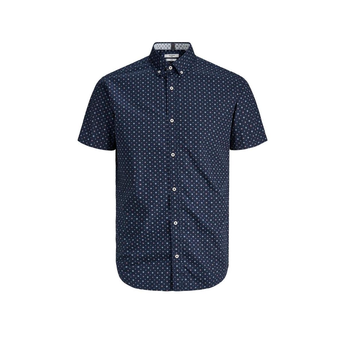 jprblapeter detail shirt s/s stretc 12170681 jack & jones overhemd navy blazer/slim fit