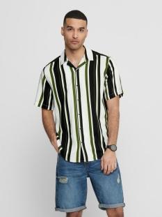 Only & Sons Overhemd ONSWAYNI  SS STRIPED VISCOSE SHIRT 22017535 Pesto