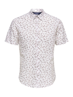 onscaiden ss aop linen shirt re 22012661 only & sons overhemd bright white