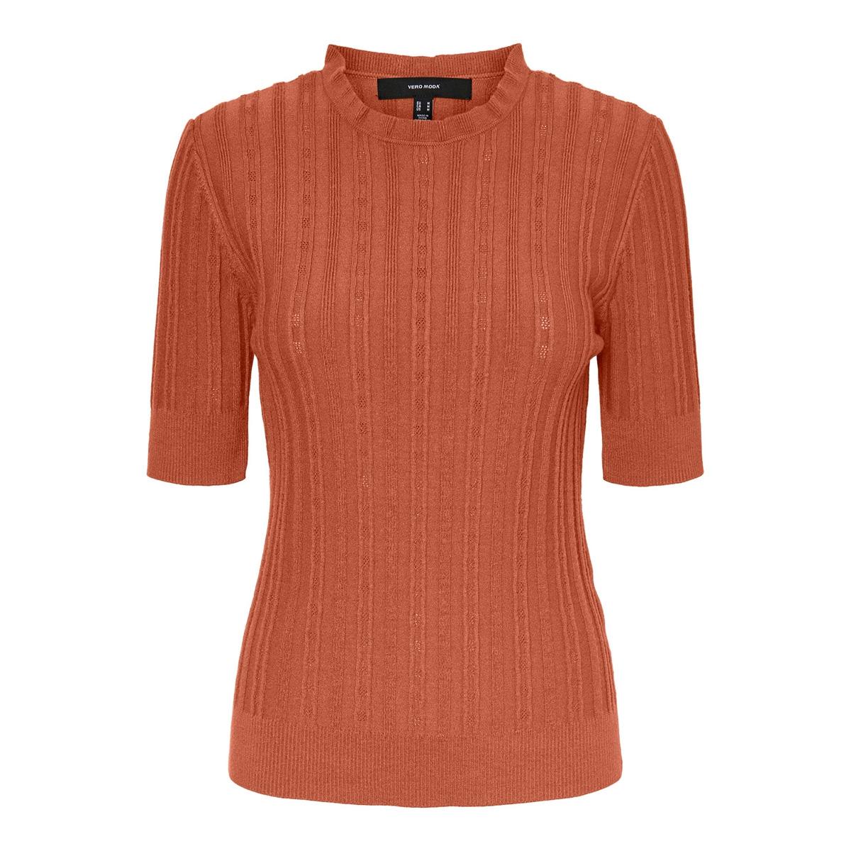vmvitawave 2/4 highneck blouse ga 10232495 vero moda trui auburn