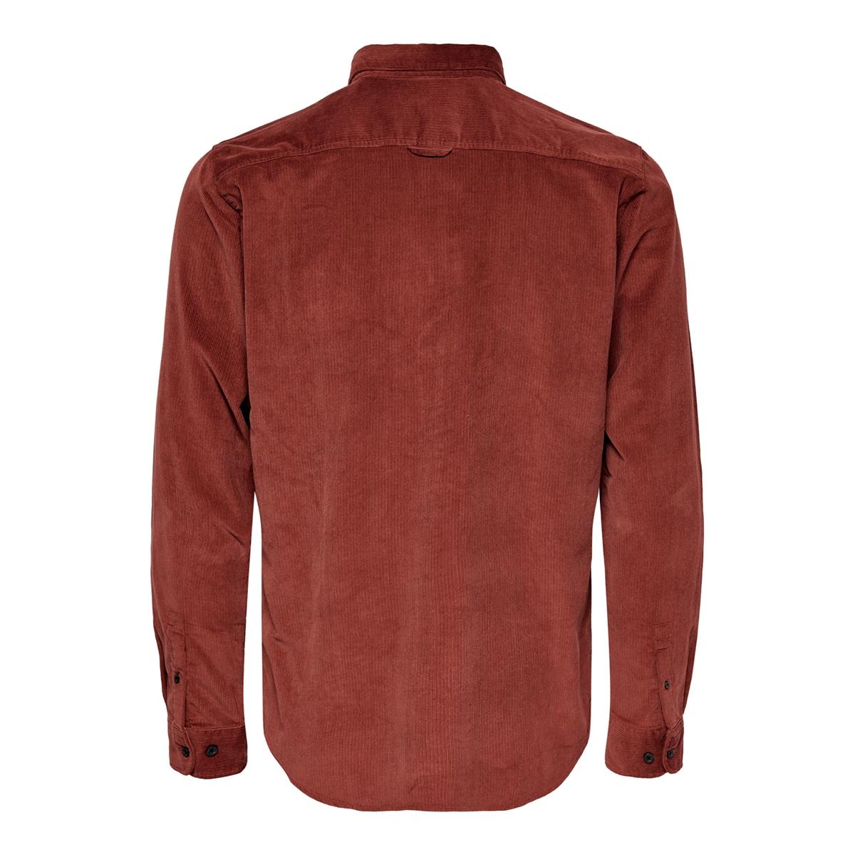 onsbennet ls reg baby  cord shirt 22017286 only & sons overhemd henna