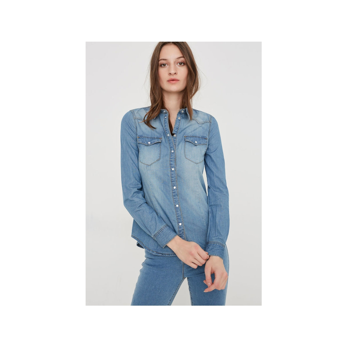 vera denim shirt 10122832 vero moda blouse light blue denim