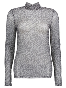 PCAMY LEO TURTLENECK LS MESH TOP 17080422 Black/Grey Leopard