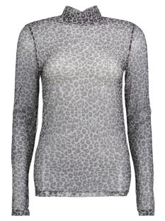 PCAMY LEO TURTLENECK LS MESH TOP 17080422 Black/Grey Leopard