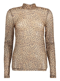 PCAMY LEO TURTLENECK LS MESH TOP 17080422 Black/Brown Leopard