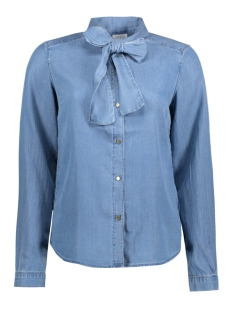 vibista bow denim shirt 14041947 vila blouse light blue denim