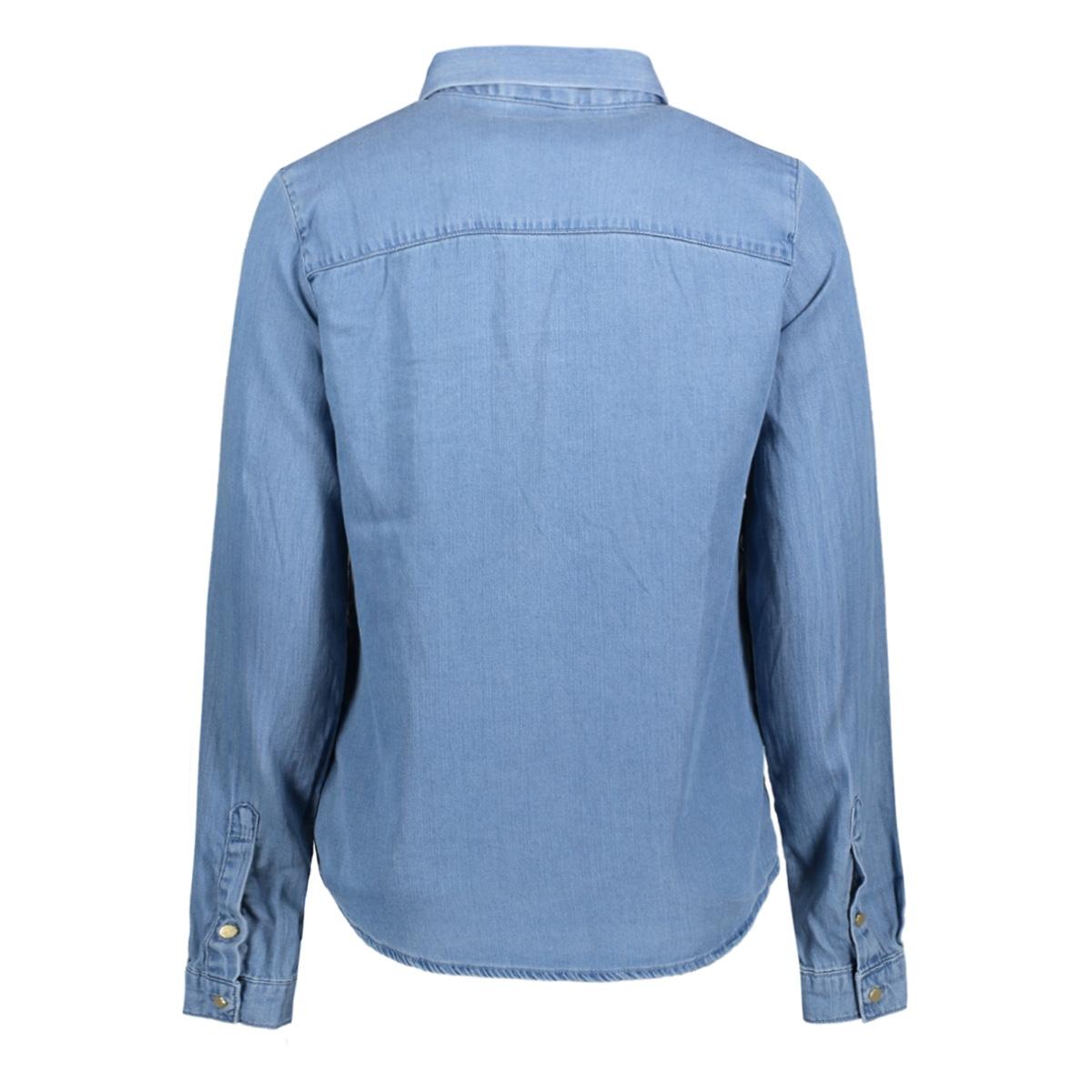 vibista bow denim shirt 14041947 vila blouse light blue denim