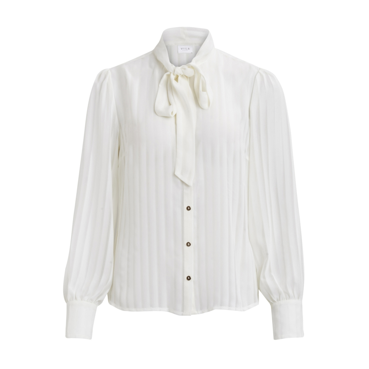 viaddie l/s bow shirt 14042445 vila blouse cloud dancer