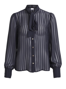 Vila Blouse VIADDIE L/S BOW SHIRT 14042445 Dark Navy