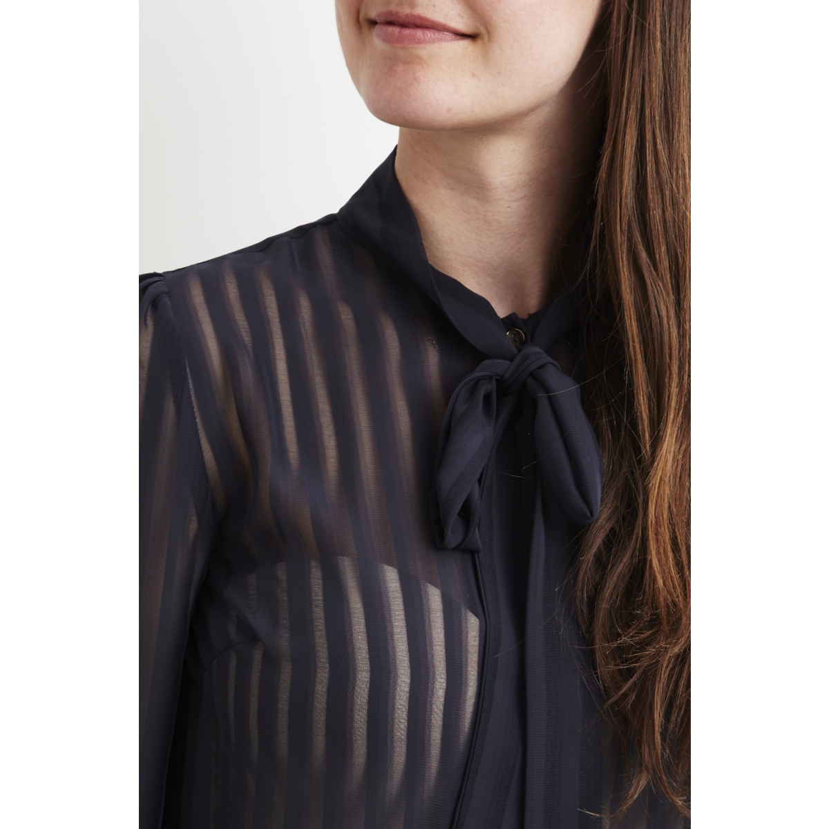 viaddie l/s bow shirt 14042445 vila blouse dark navy
