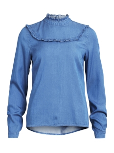 Vila Blouse VIBISTA L/S DENIM RUFFLE TOP 14043748 Medium Blue Denim