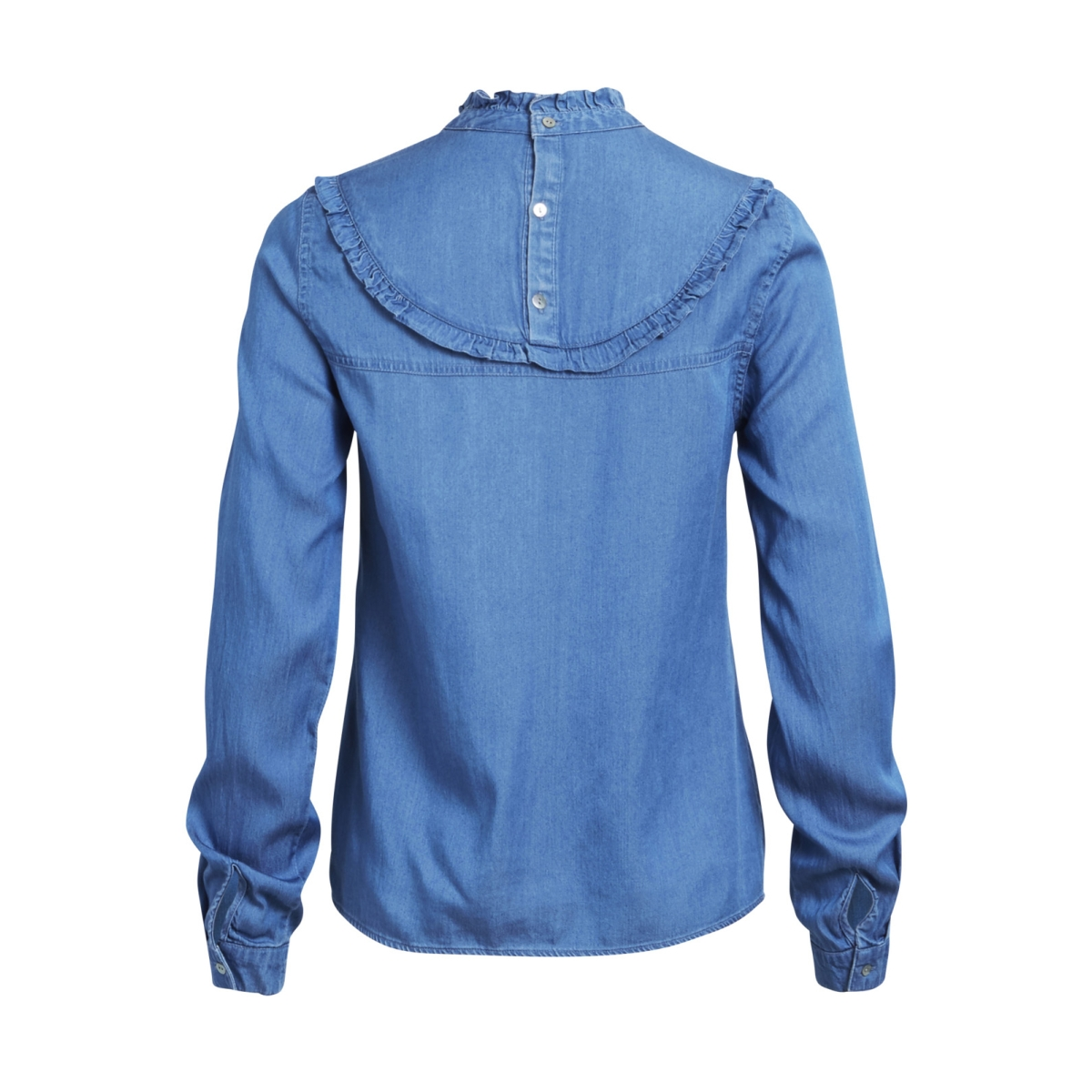 vibista l/s denim ruffle top 14043748 vila blouse medium blue denim