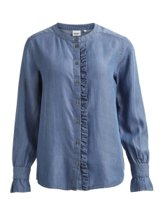 Object Blouse OBJFLIRTY L/S RUFFEL SHIRT 95 23026146 Light Blue Denim