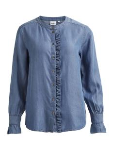 objflirty l/s ruffel shirt 95 23026146 object blouse light blue denim
