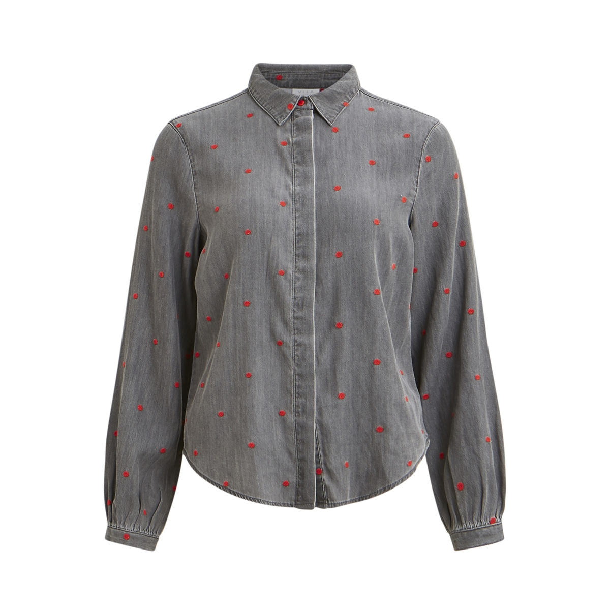vibista ls dotted shirt 14050347 vila blouse grey denim/dots cherr