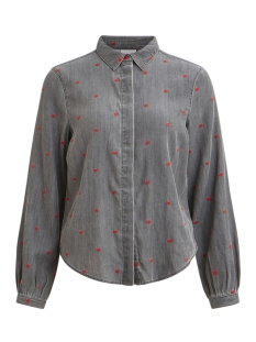 Vila Blouse VIBISTA LS DOTTED SHIRT 14050347 Grey Denim/DOTS CHERR