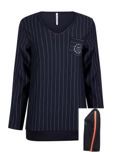 Zoso sweater PINSTRIPE BLOUSE HR1924 NAVY/ORANGE