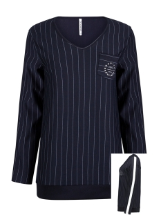 Zoso sweater PINSTRIPE BLOUSE HR1924 NAVY/OFFWHITE