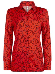 travel printed blouse hr1908 zoso blouse orange red/ navy