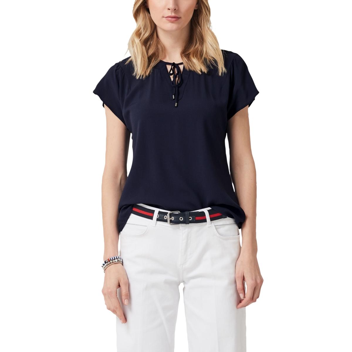 blouse met v hals en strik sluiting 04899125318 s.oliver blouse 5959
