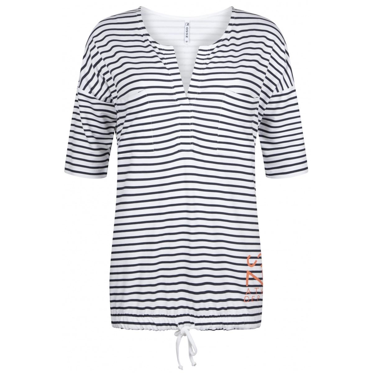 aivy striped blouse 192 zoso t-shirt navy/salmon