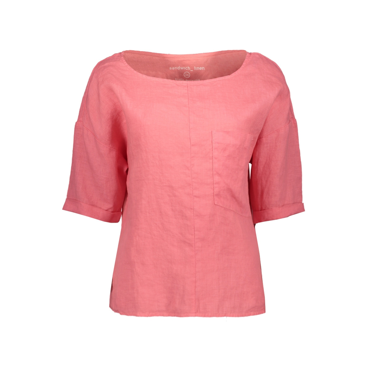 linnen blouse met borstzak 22001526 sandwich blouse 75078