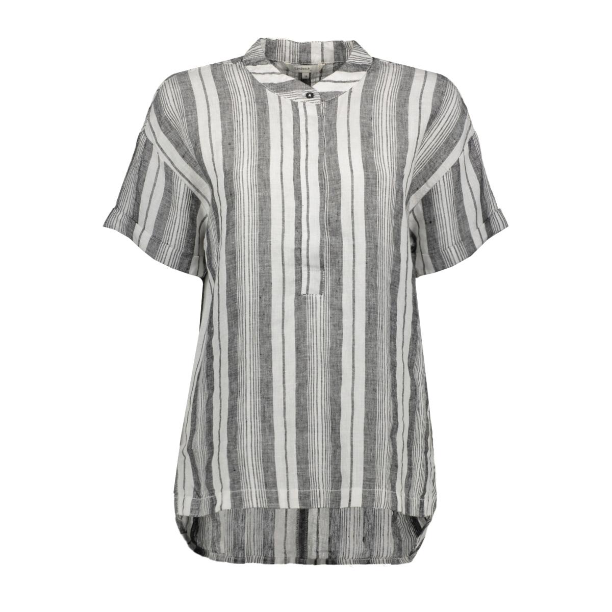 linnen blouse met streeppatroon 22001697 sandwich blouse 80041
