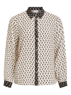 Vila Blouse VIKIT L/S SHIRT 14055381 Cloud Dancer/NAVY BLAZER