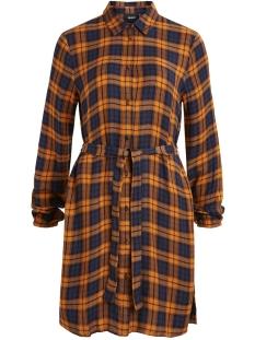 objadley l/s shirt  dress 104 23029976 object jurk buckthorn brown/checked