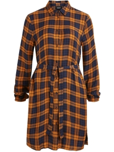 Object Jurk OBJADLEY L/S SHIRT  DRESS 104 23029976 Buckthorn Brown/CHECKED