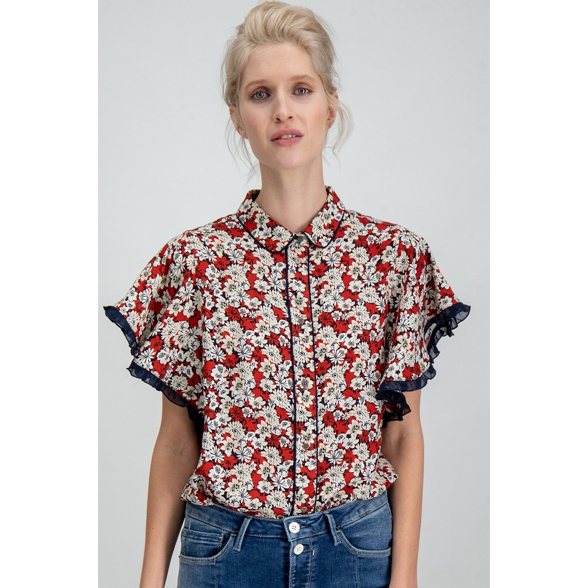 blouse met print h90236 garcia blouse 3497 rosso