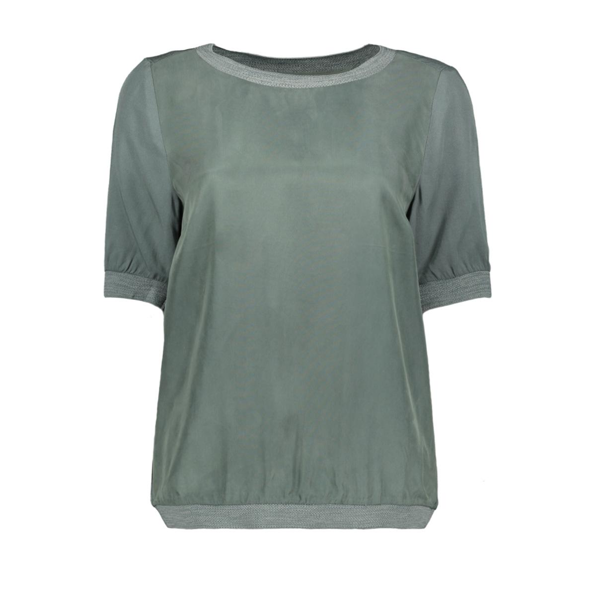 soepel vallende top met geweven boord 22001717 sandwich t-shirt 50044