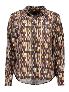 Goût d'Anvers Blouse BLOUSE BUTTON DOWN GDA12 0100 BLOCKS BLACK/OFFWHITE/LILA/BORDEAUX