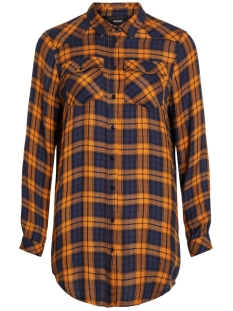 Object Blouse OBJADLEY L/S SHIRT 104 23030378 Buckthorn Brown/ CHECKED