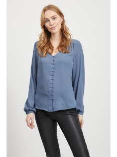 vilucy l/s v-neck button shirt - fa 14055396 vila blouse china blue