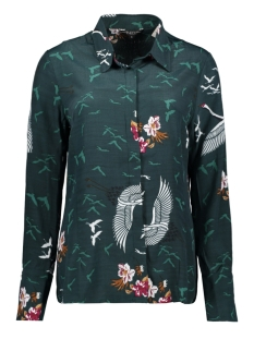 NED Blouse XPS19W2 W046 02 RELIA LS BIRDS 220 PINE FOREST