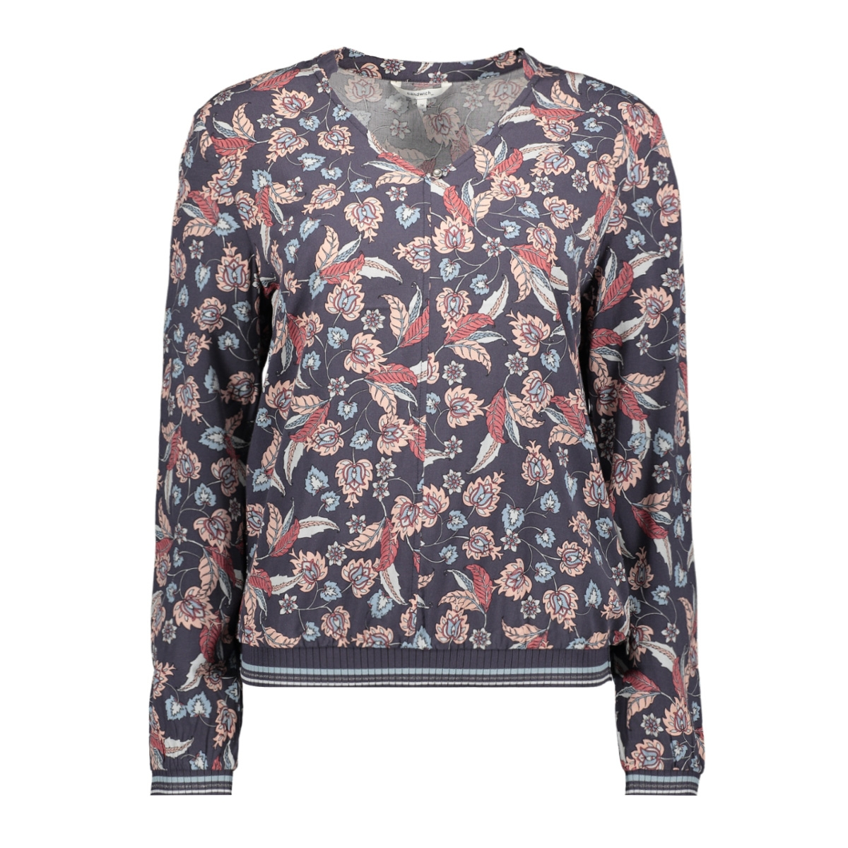 top met bloemenprint en ribboord 22001773 sandwich t-shirt 80027