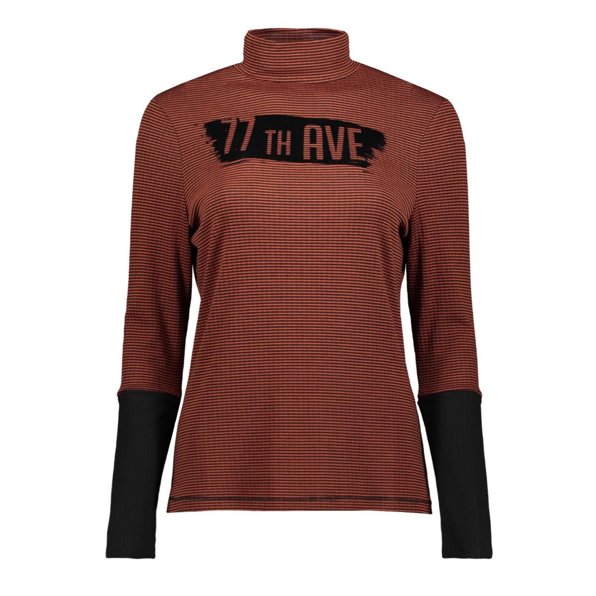 donna stiped print blouse 195 zoso t-shirt burnt orange/black